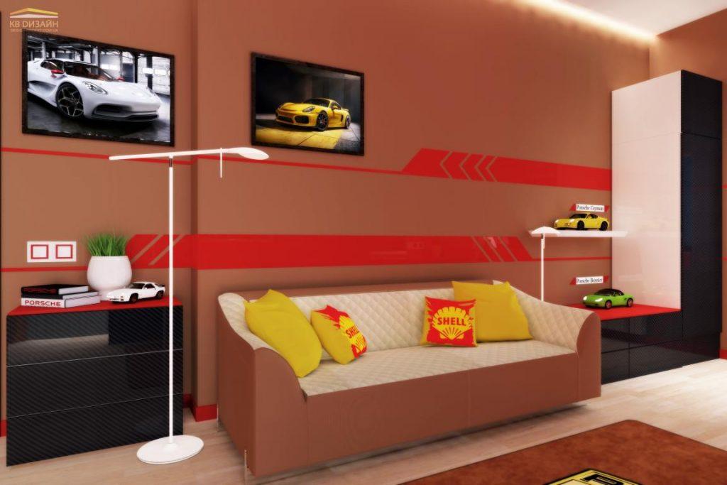 """Інтер'єр кімнати в стилі """"Porsche Design"""" м.Львів"""
